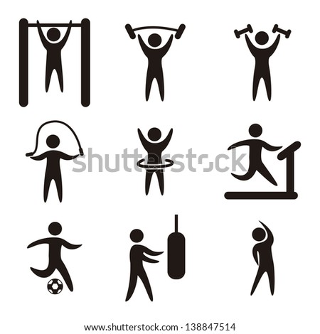 fitness icons over white background. vector illustration - stock vector