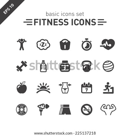 Fitness icons set.