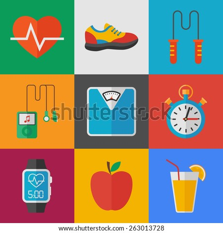fitness icons set. flat style vector illustration - stock vector