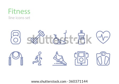 Fitness.  Icons set. Line art.  Stock vector. - stock vector