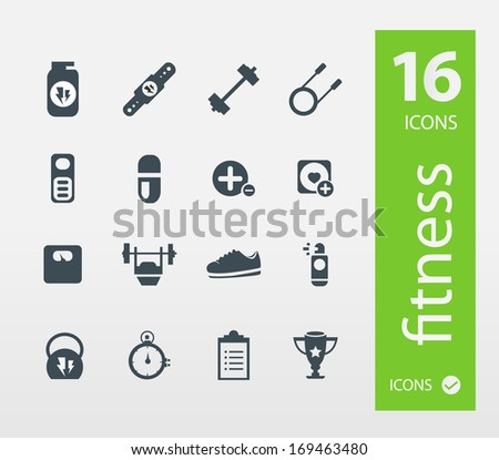Fitness icons  ( Set of 16 Quality icon ) - stock vector