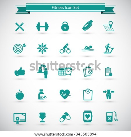 Fitness Icons set - set of fitness icons / amenities. - stock vector