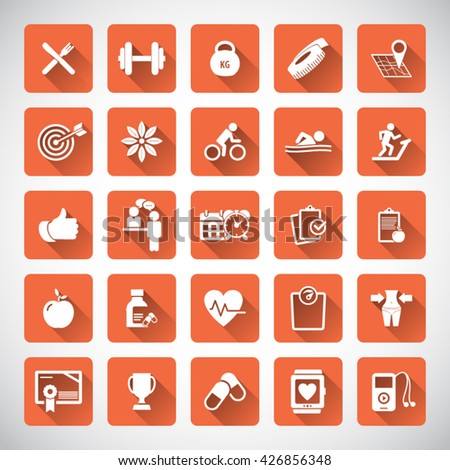 Fitness Icons set - set of fitness icons / amenities. Editable vector icons for video, mobile apps, Web sites and print projects. - stock vector