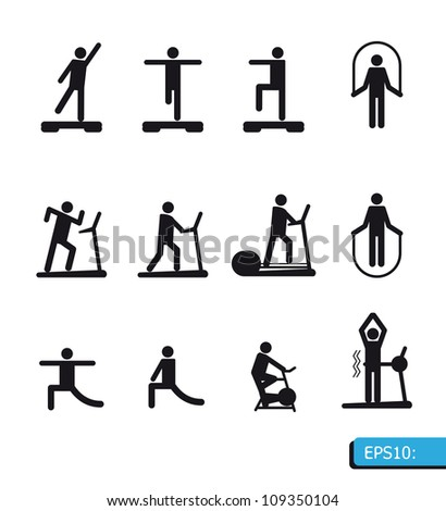 Fitness Icons set vector - stock vector