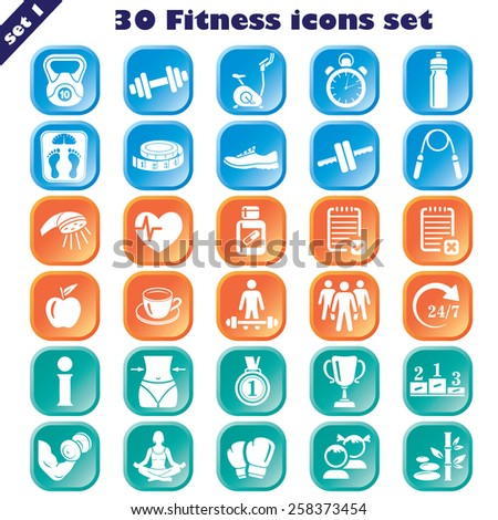 Fitness icons set, vector set of 30 fitness signs. - stock vector