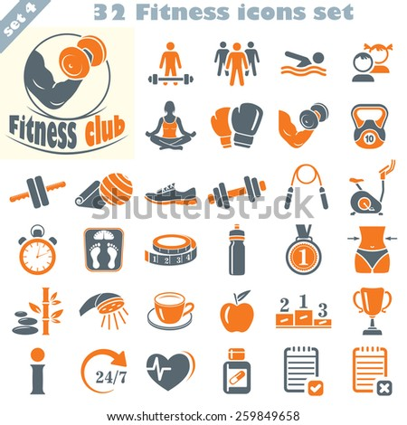 Fitness icons set, vector set of 32 fitness signs. - stock vector