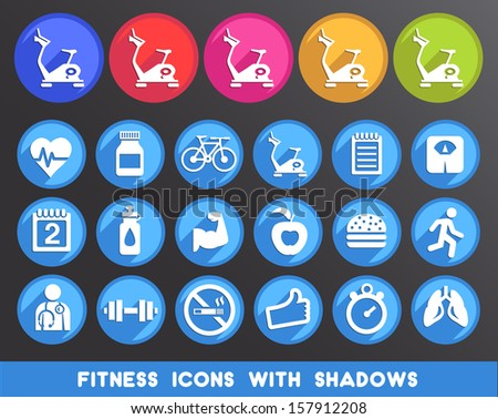 Fitness Icons with Shadows.  - stock vector