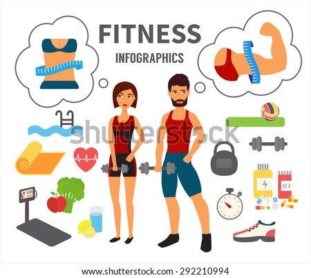 Fitness infographic. Athlete man and woman training in gym dreaming about perfect body. Flat Vector Icons. - stock vector