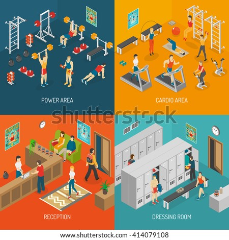 Fitness Isometric Set. Fitness Vector Illustration. Fitness Isolated Elements. Fitness Icons Set. Fitness Concept Collection.  - stock vector