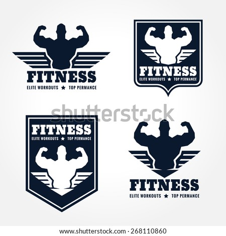 fitness logo emblems in retro style graphic design (wings and muscle blue-black tone) - stock vector