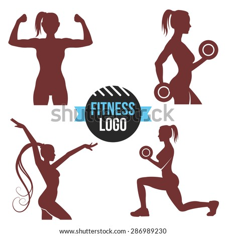 Fitness logo set. Elegant women silhouettes. Fitness club, fitness exercises concept. Vector illustration isolated on white background - stock vector