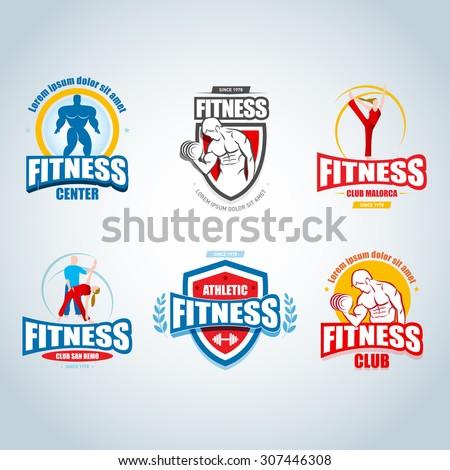 Fitness logo templates set. Gym club logotypes. Sport Fitness club creative concepts. Gym club logotypes. Bodybuilder, Sportsman Fitness Model Illustration, Sign, Symbol, badge. - stock vector