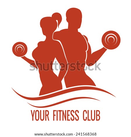 Fitness logo with muscled man and woman silhouettes. Man and woman holds dumbbells. Vector illustration - stock vector