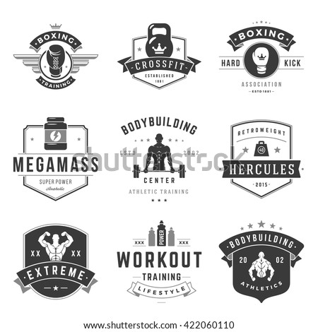 Fitness Logos Templates Set. Vector object and Icons for Sport Labels, Gym Badges, Health Logos Design, Emblems Graphics.  - stock vector