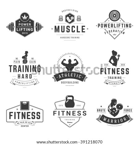 Fitness Logos Templates Set. Vector object and Icons for Sport Labels, Gym Badges Woman and Man Silhouettes, Barbell and Weight Symbols.