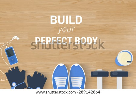 Fitness motivated banner with realistic sport elements on wooden background. Text outlined. Free font used - Open Sans - stock vector