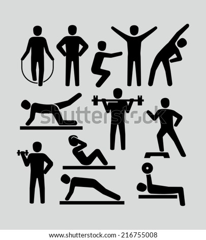 Fitness people icons  - stock vector