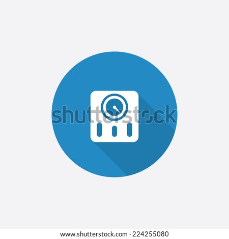 fitness scales Flat Blue Simple Icon with long shadow, isolated on white background   - stock vector