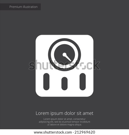 fitness scales premium illustration icon, isolated, white on dark background, with text elements  - stock vector
