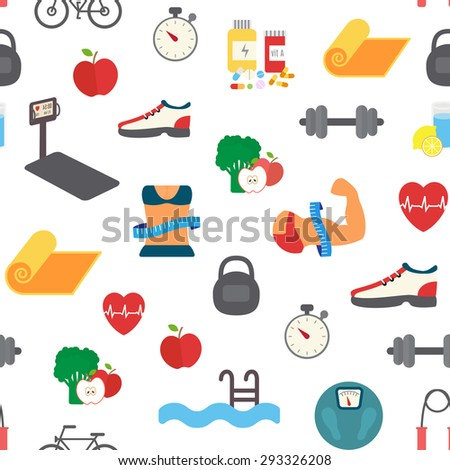 Fitness seamless pattern. Vector sport background - stock vector