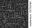 FITNESS. Seamless vector pattern with word cloud. - stock vector