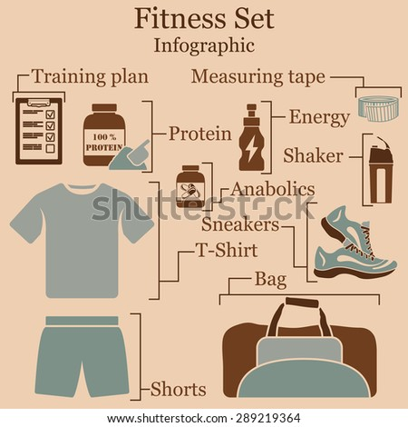 Fitness set  infographics. EPS 10 vector illustration without transparency. - stock vector