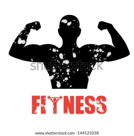 fitness silhouette over white background vector illustration - stock vector