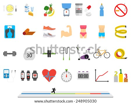 Fitness sport and health colorful flat design icons set. Illustration on a white background - stock vector