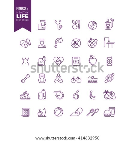 Fitness, sport, bodybuilding and healthy life outline web vector icons. Energy sport bodybuilding, lifestyle sport fitness, lifestyle health sport, icon lifestyle sport fitness illustration - stock vector