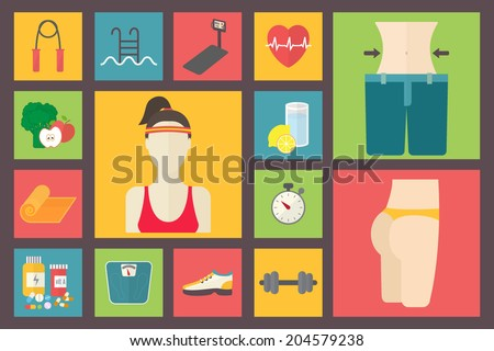Fitness, sport equipment, caring figure, diet, weight loss icons set. Healthcare flat design vector illustration. - stock vector
