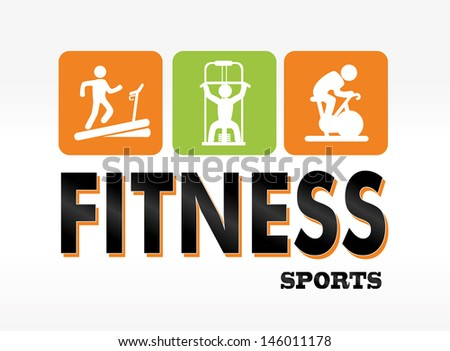 fitness sports over white background vector illustration  - stock vector