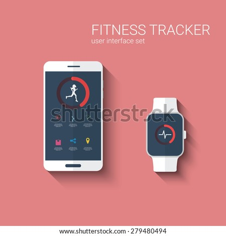 Fitness tracker app graphic user interface for smartwatch and smartphone. Woman running symbol with icons for the application. Eps10 vector illustration. - stock vector