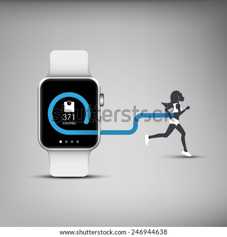 Fitness tracker application for smart watch concept with calories burning symbol and silhouette of running or jogging person. Eps10 vector illustration. - stock vector