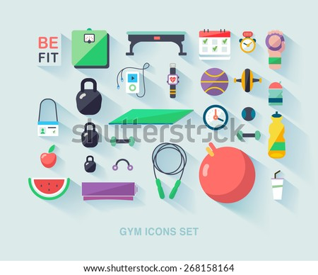Fitness vector background. Concept flat icons of gym. - stock vector