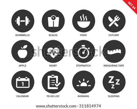 Fitness vector icons set. Sport and exercising consept. Healthy lifestyle items, dumbbells, food, apple, heart, calendar, sleeping, scales, measuring tape. Isolated on white background - stock vector