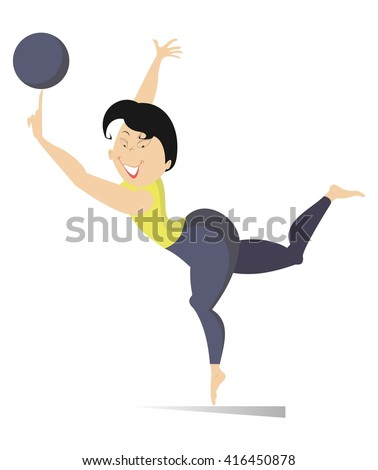 Fitness. Woman do exercises with a ball  - stock vector