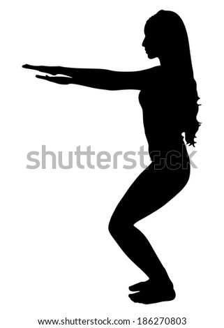 fitness woman doing exercise, vector