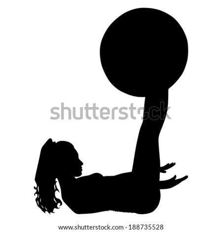 fitness woman doing exercise with pilates ball, vector