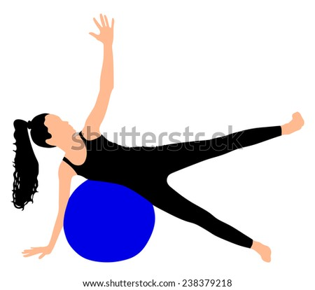 Fitness woman doing exercise with pilates ball, vector  - stock vector