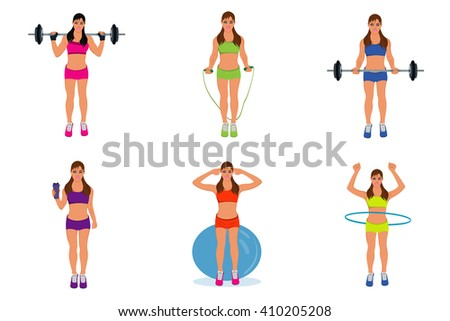 fitness woman, pilates, bodybuilding, exercising, sport, vector, set  - stock vector