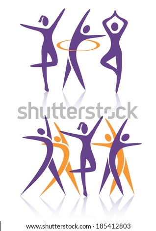 Fitness women icons Silhouettes of Two groups of women practicing fitness activities. Vector illustration.