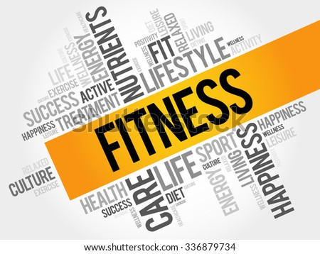 Fitness word cloud, health concept - stock vector