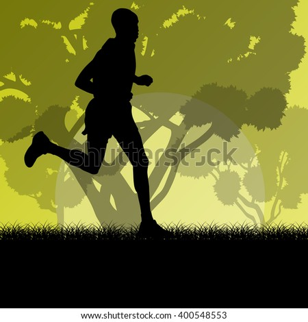 Fitness young man runner running in forest landscape vector illustration background