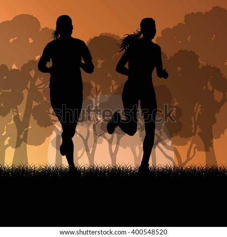 Fitness young woman runner running in forest landscape vector illustration background - stock vector
