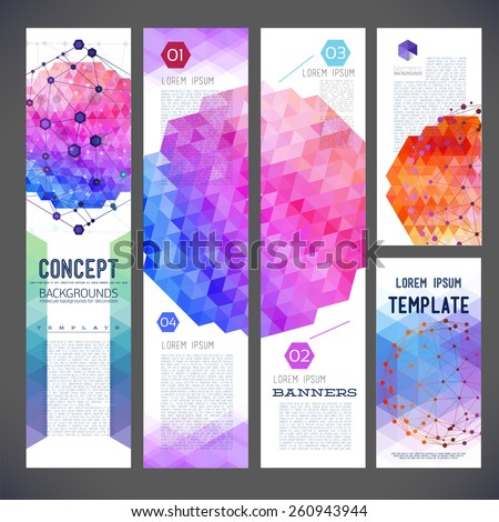 Five abstract design banners, business theme, flyer printing, web design, geometric pattern of triangles, the composition of the geometry of different colors. Molecular and mesh grille, medical theme - stock vector