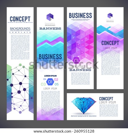Five abstract design banners, business theme, flyer printing, web design, geometric pattern of triangles, the composition of the geometry of different colors. - stock vector