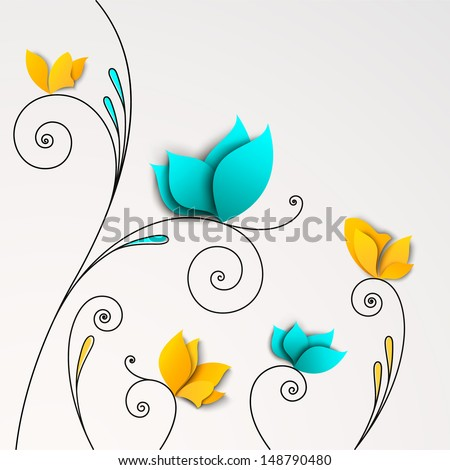 Five abstract paper flowers. FLoral background - stock vector