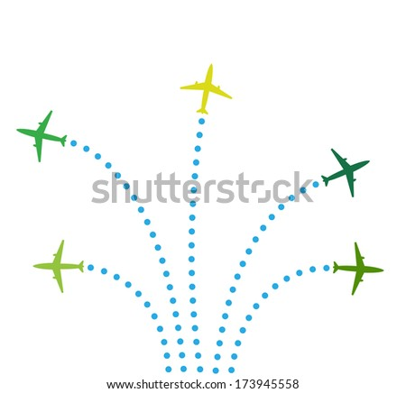 Five airplanes - stock vector