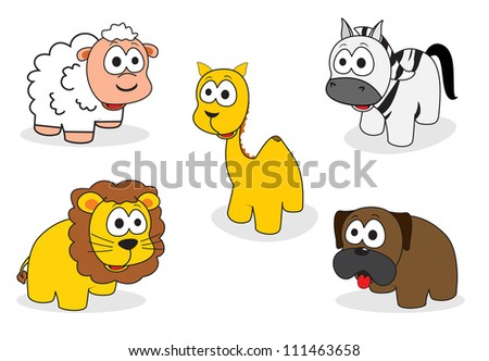 five animals cute sheep, camels, lions, zebras and dogs