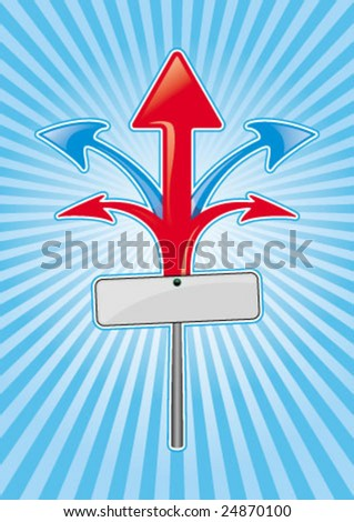 five arrow direction with blank board - stock vector